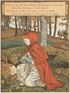 red riding hood picking flowers