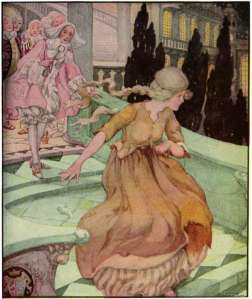 cinderella running anne anderson illustration