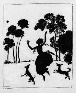 silhouette of cinderella by rackham