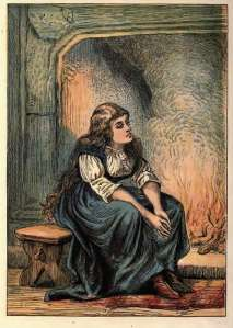 cinderella at fireplace