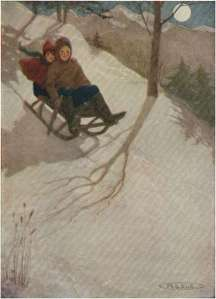 two-kids-on-sledge
