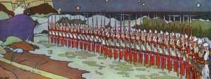 chernomor and his army in opera tsar saltan by bilibin