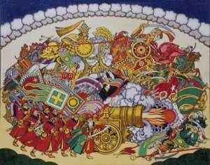 scene from opera of tsar saltan by bilibin ivan