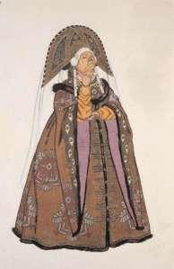jealous sister from tale of tsar saltan costume  by ivan bilibin