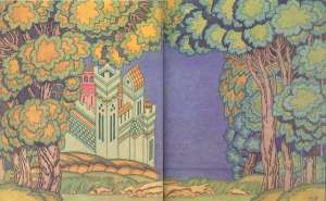 scene for the opera of the tale tsar saltan by ivan bilibin