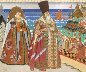 jealous sister and king saltan in opera scene
