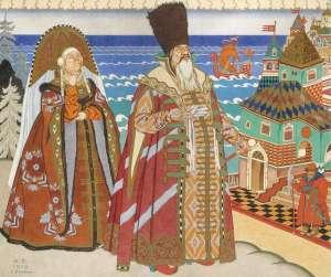 jealous sister and king saltan in opera scene